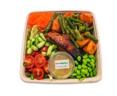 Oriental Salmon with Tofu & Green Beans & Edamame - Bento Box