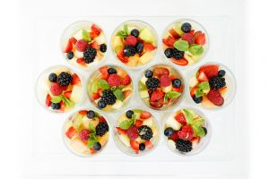 Individual Fresh Fruit Salad with Gently Whipped Cream