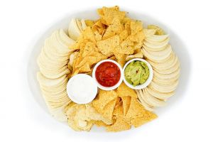 A Selection of Nachos with Crisps and Pringles
