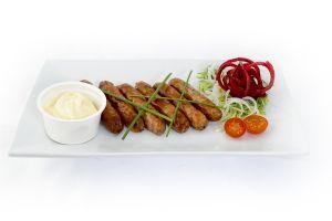 Organic Pork Chipolatas with a mild mustard dip