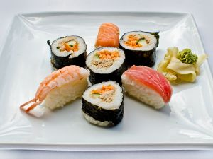 Mini Sushi Platter with Wasabi, Ginger, Pickle & Chopsticks