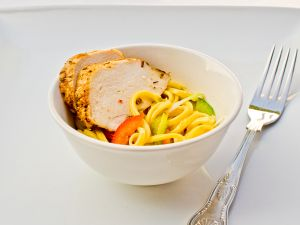 Cajun Spiced Chicken with soft noodles