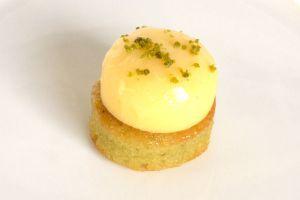 Lemon Cream on Almond Pistachio Base