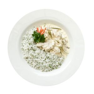 Chicken Fricasse & Rice Menu