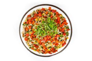 Large Bowl of Italian Farro Salad with Mixed Peppers