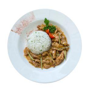 Fillet Of Beef Stroganoff With Rice Menu