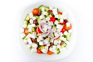 Large Bowl of Fresh Greek Salad with Kalamata Olives