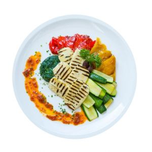 Haloumi With Roasted Mediterranen Vegetables & Roasted Potatoes
