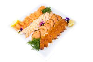Luxury Salmon 3 Ways with King Prawns