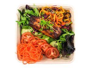 Teriyaki Style Salmon Salad with Noodles - Bento Box