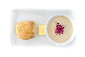 Wild Mushroom Soup with Fresh Bread Rolls