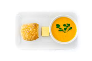 Carrot & Coriander Soup with Fresh Bread Rolls