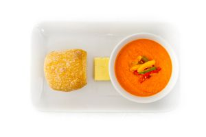Tomato & Fresh Basil Soup with Bread Rolls