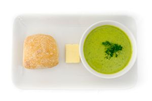 Pea & Mint Soup with Fresh Bread Rolls