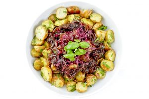 Large Bowl of New Potato Salad with Sticky Caramelised Onion