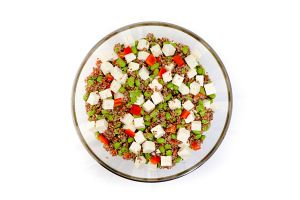 Large Bowl of Quinoa, Feta, Edamame with Red Peppers