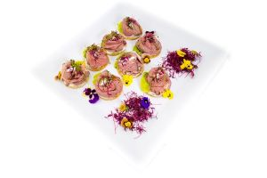 Medium Rare Rossettes of Beef with Horesradish Crostini - Cold Fork Buffet