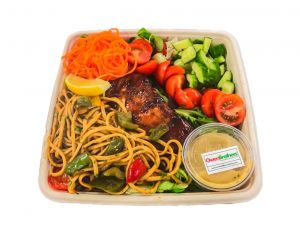 Teriyaki Style Salmon Salad with Noodles - Bento Box