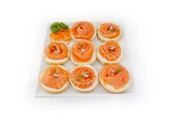 Open Scottish Smoked Salmon Bagels with Light Cream Cheese