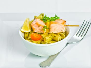 Roasted Skewers of Wild Salmon with Penne Pasta