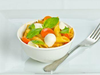 Mini Mozzarella with Sunblush Penne Pasta & Fresh Basil