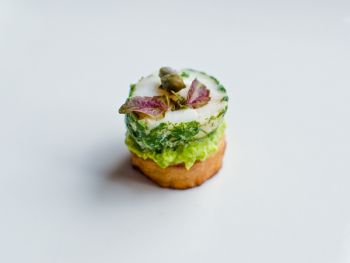 Scallops with pea and mint puree on a potato rosti