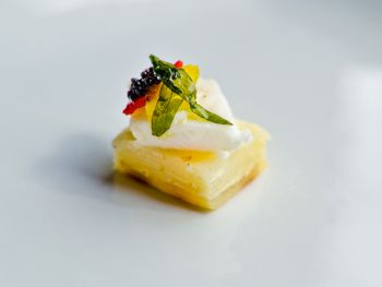 Lemon Sole with Daulphnoise Potato and Trout Mousse