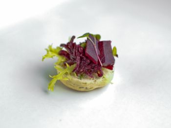 Monkfish on a Minted Pea Puree with Beetroot Cress