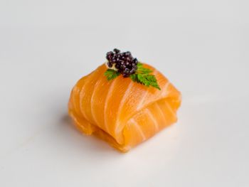 Parcel of Smoked Salmon filled with fresh Crab