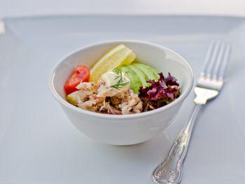 Avocado with Crab Mayonnaise on Potato Salad