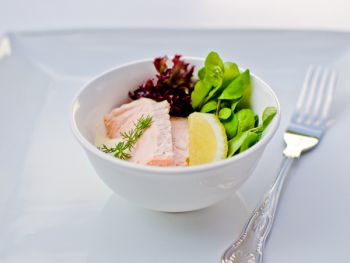 Poached Salmon on a Watercress Salad with a Light Citrus mayonnaise
