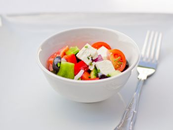 Mini Greek Salad with Feta Cheese and Black Olives