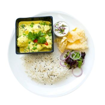 Cauliflower & Pea Korma with Rice Menu