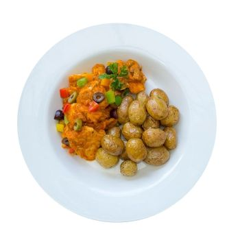 Chicken Cacciatore With Olives & Roasted New Potatoes
