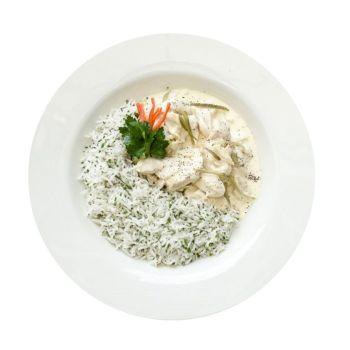 Chicken Fricasse & Rice Menu