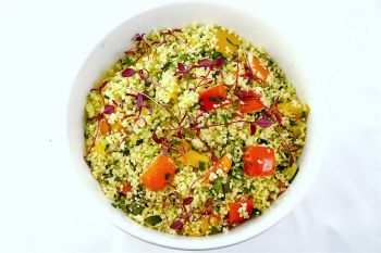 Large Bowl of Lemon Cous Cous Salad with Grilled Mediterranean Vegetables