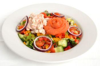 Oak Smoked Salmon Salad with Prawns