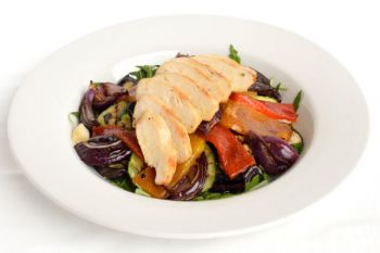 Grilled Chicken Salad With Mediterranean Roasted Vegetables