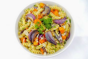 Large Bowl of Pasta Salad with Roasted Squash