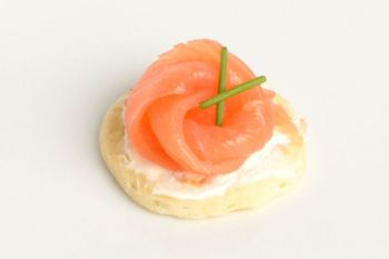Smoked Salmon Blinis with Light Cream Cheese and Chives