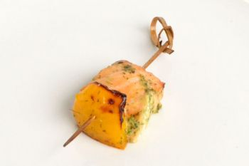 Skewer of Herbed Salmon With Yellow Pepper