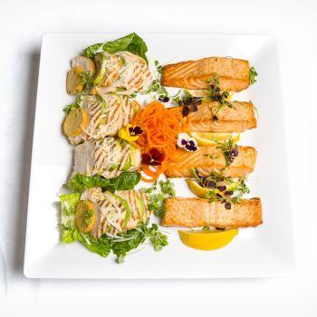 Grilled Chicken Skinny Caesar & Avocado & Roasted Salmon Platter