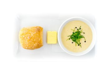 Leek & Potato Soup with Fresh Bread Rolls