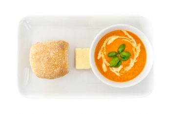Roasted Mediterranean Vegetable Soup with Fresh Bread Rolls