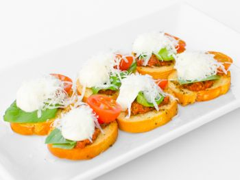 Mozarella with Sun Blush Tomato on Crostini