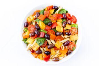 Large Bowl of Pasta Salad with Herb Roasted Vegetables & Olives