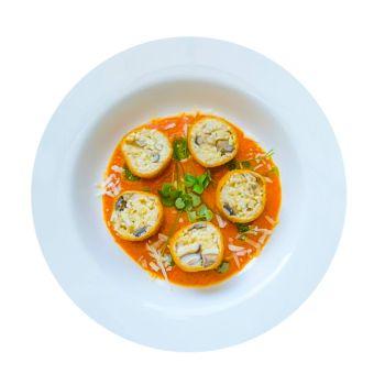 Wild Mushroom Risotto Balls In A Siclian Tomato Sauce